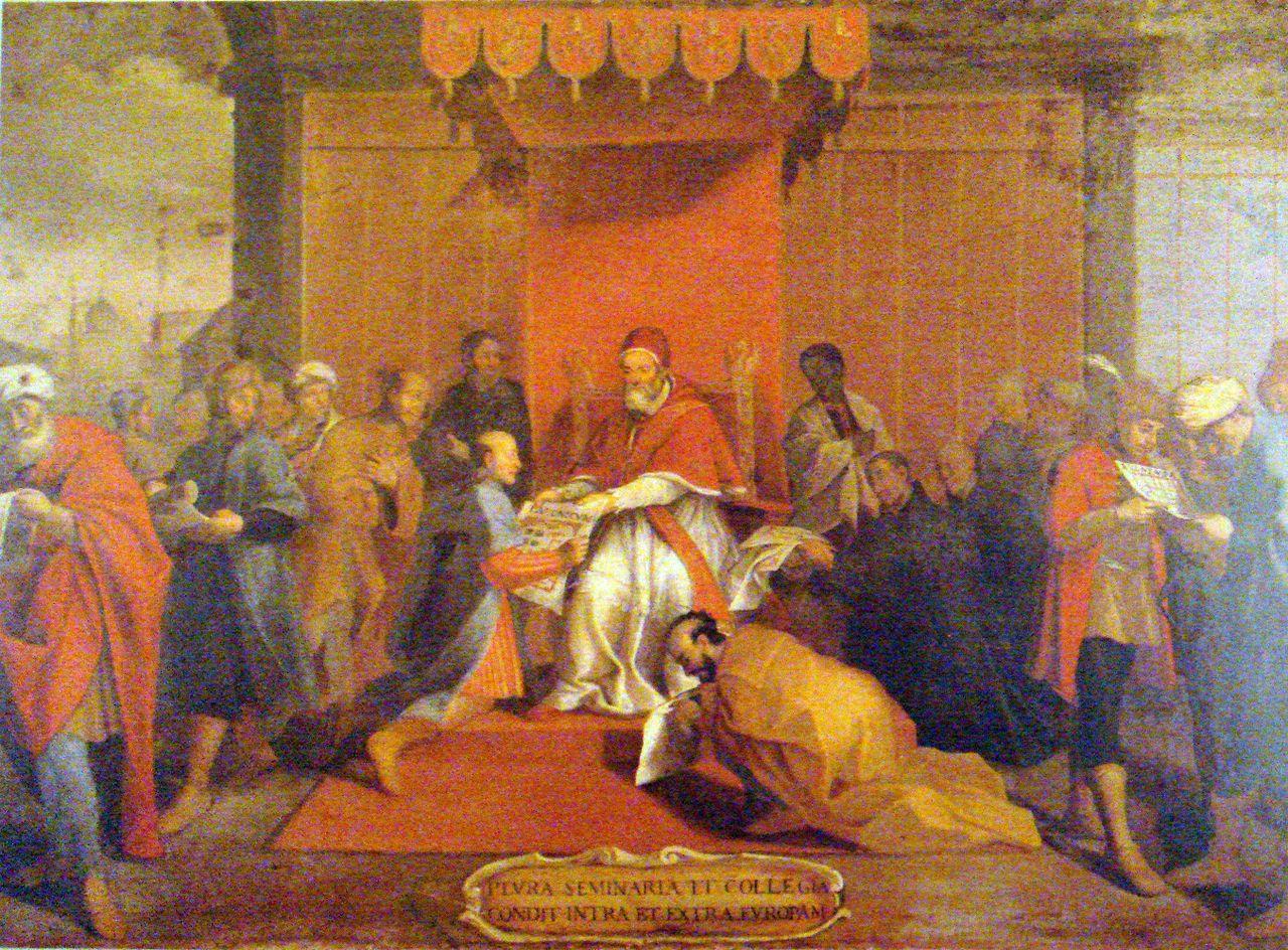 Японская делегация на приеме у Папы Римского.